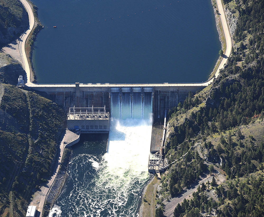 Canyon Ferry Dam and reservoir.