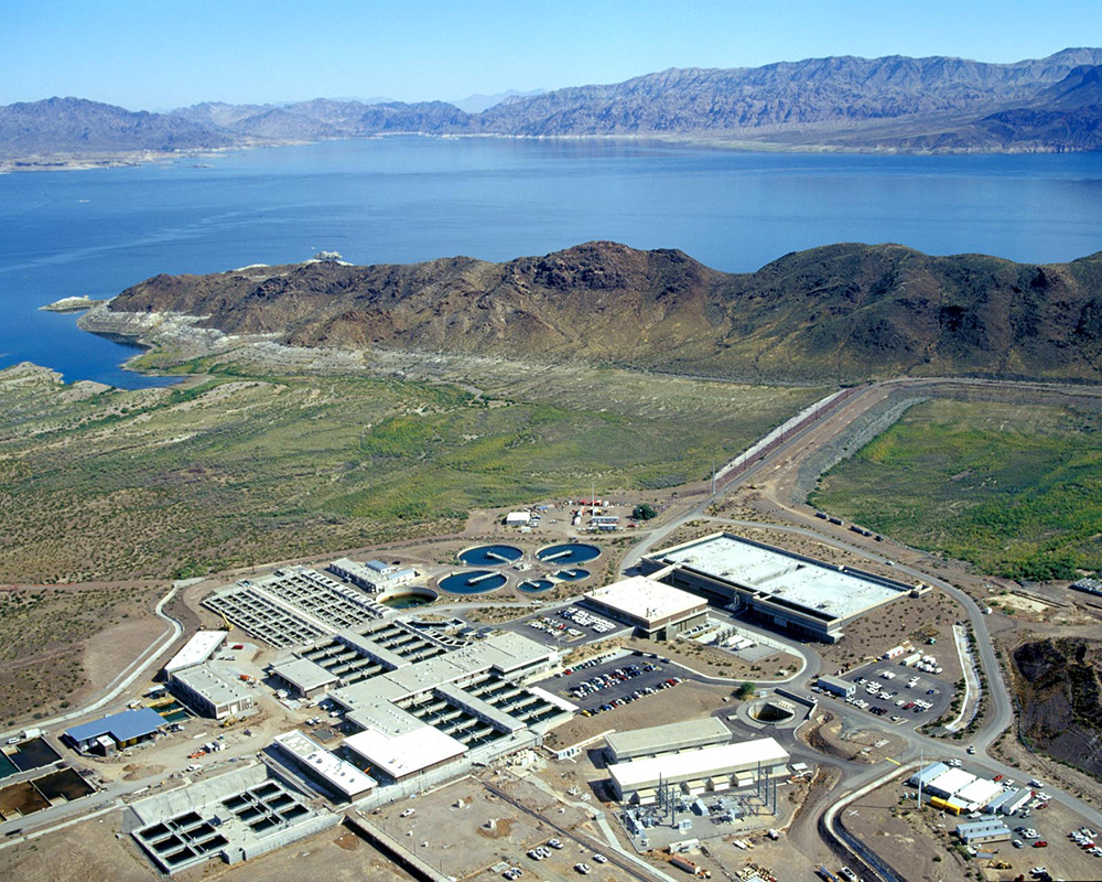 Alfred Merritt Smith Water Treatment Plant, part of the Robert B. Griffith Water Project, located on the west side of Saddle Island at Lake Mead.