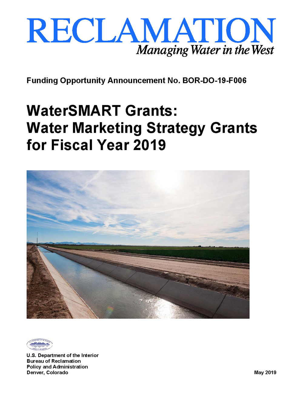 2019 Water Marketing Funding Opportunity