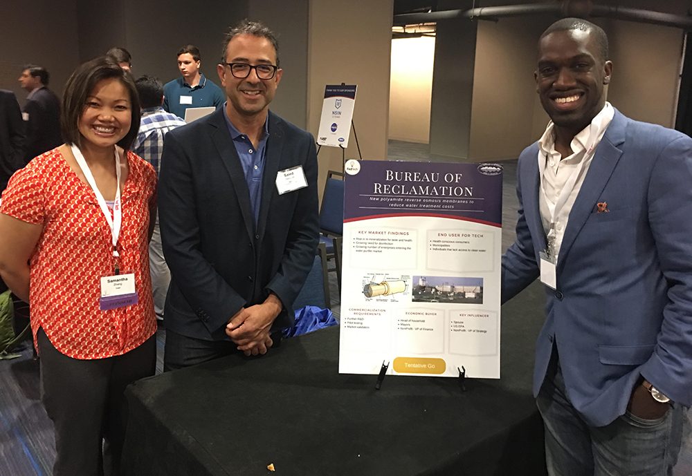 Reclamation technology transfer coordinator Samantha Zhang, chemical engineer Saied Delagah and FedTech entrepreneur Darrel Frater at 2019 Startup Studio.