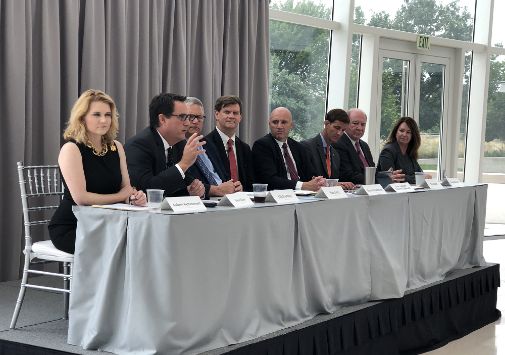 Assistant Secretary for Water and Science Tim Petty, Ph.D. (fourth from left) and Reclamation Commissioner Brenda Burman (far right) and other senior administration officials participate in a panel discussion at the Second National Drought Forum.