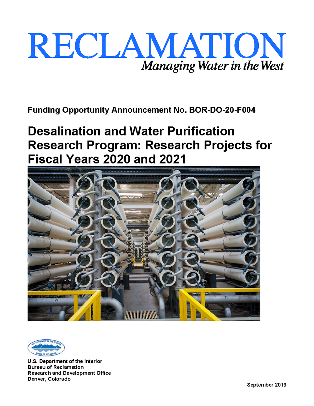 Desalination and Water Purification Research Program funding opportunity