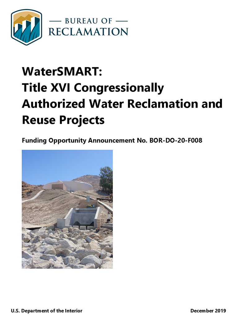 Title XVI Water Reclamation and Reuse Projects Funding Opportunity Annoucement