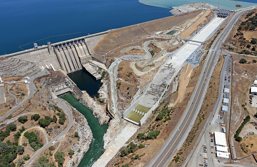 Folsom Dam and its new auxiliary spillway, a joint project by the Bureau of Reclamation and U.S. Army Corps of Engineers.