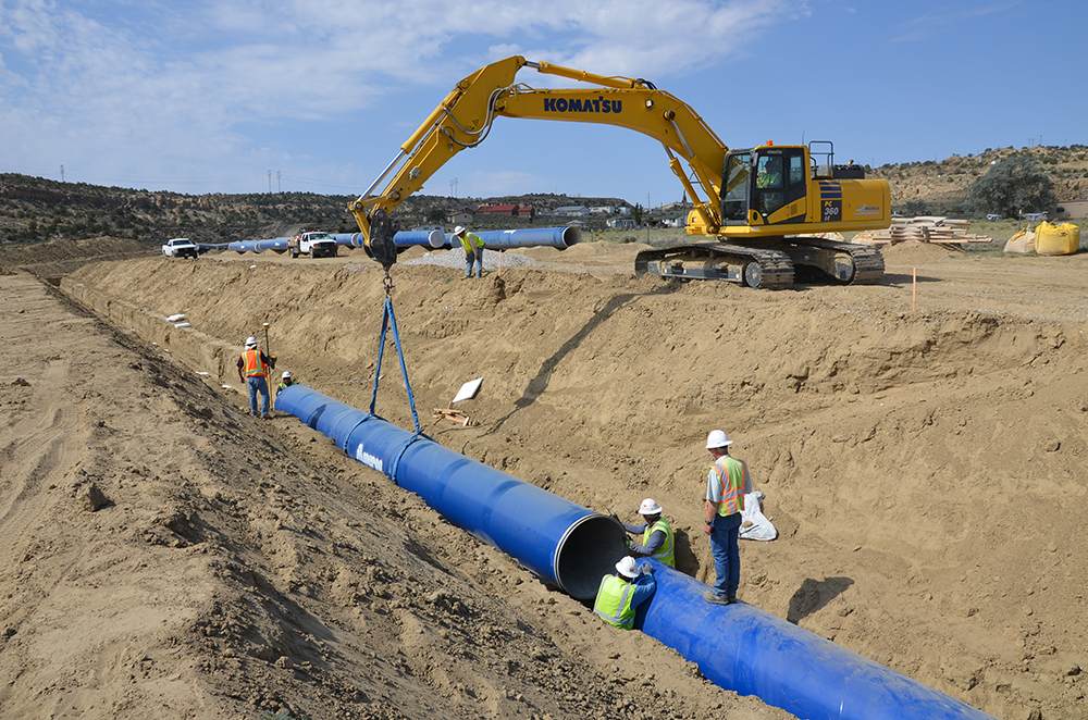 Pipeline being installed during construction earlier on the Navajo-Gallup Water Supply Project.