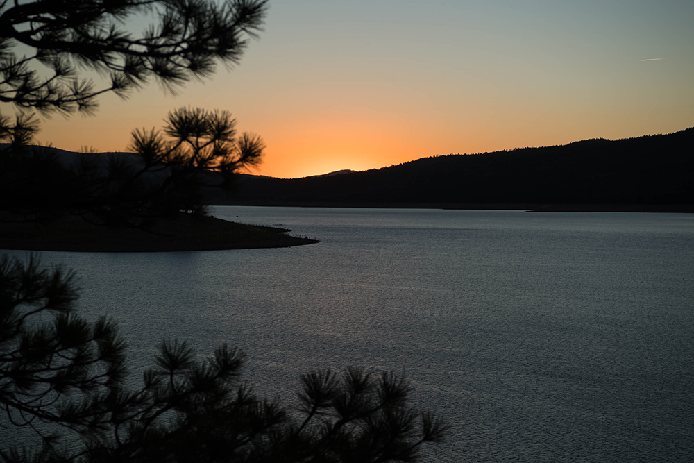 The sunsetting on Stampede Reservoir in the Truckee River Basin.