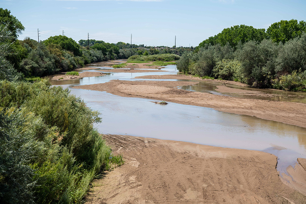 A partially dry riverbed in the western United States.