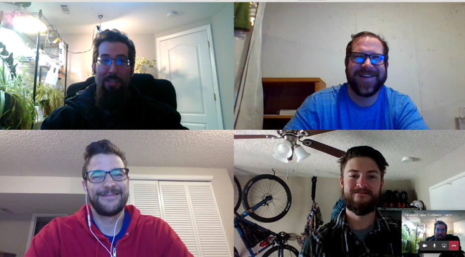 Some of the team members on a web call.