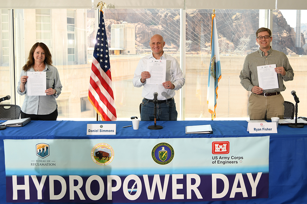 Reclamation Commissioner Brenda Burman, Assistant Secretary Office Energy and Efficiency and Renewable Energy Daniel Simmons and Principal Deputy Assistant Secretary for Civil Works Ryan Fisher with signed MOU.