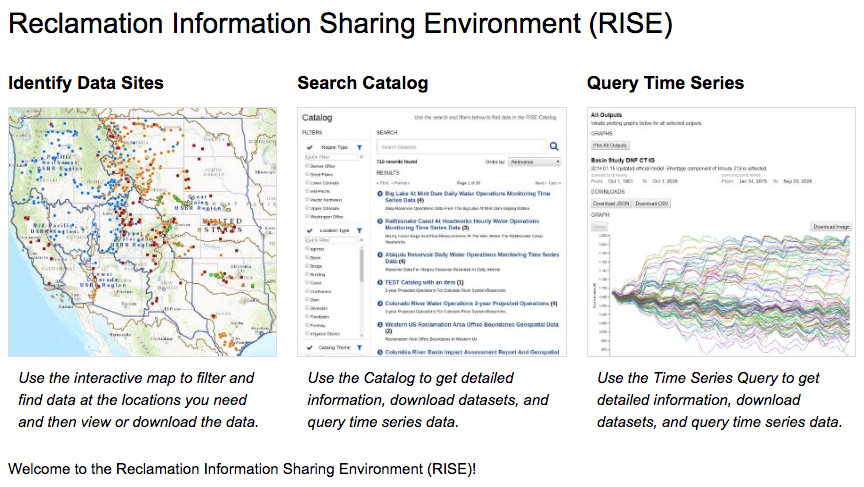 A screenshot of the Reclamation Information Sharing Environment site.