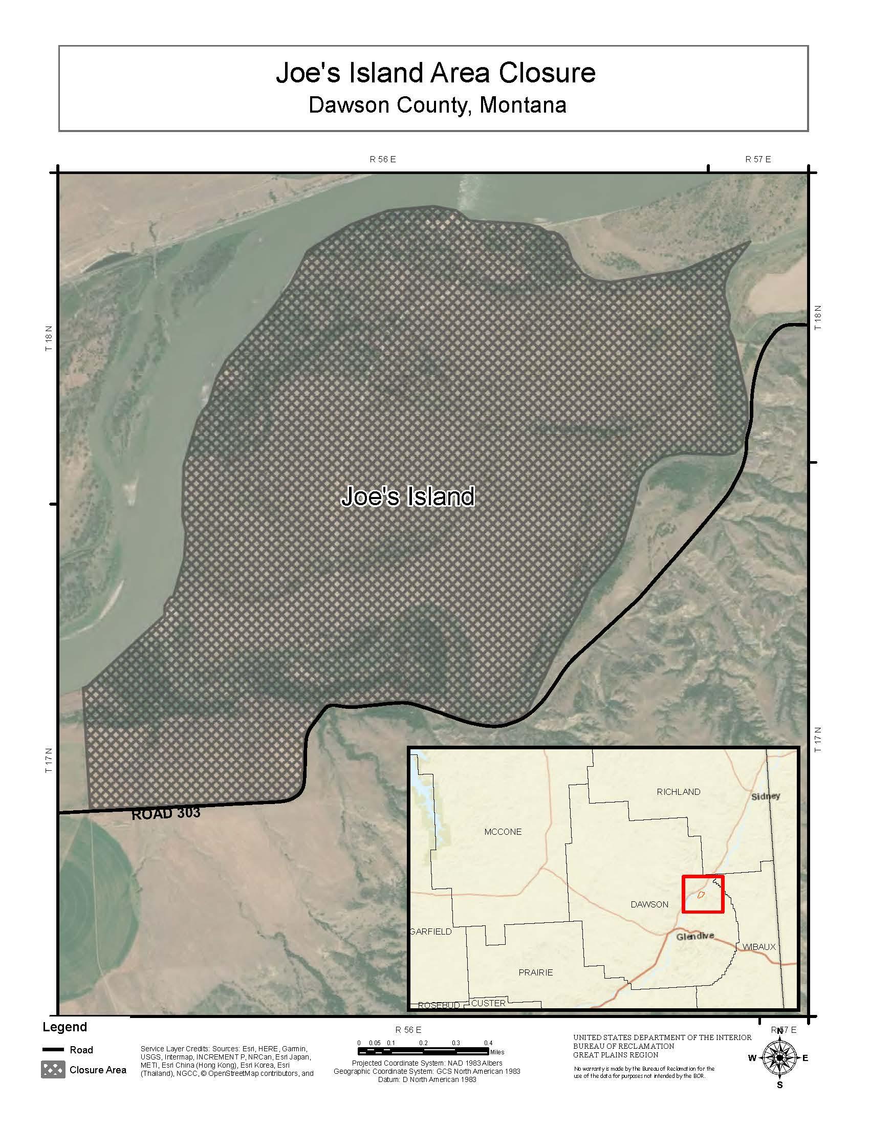 Aerial map of closure near Joe's Island
