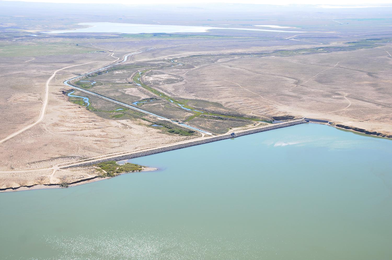 Aerial view of Big Sandy Dam near Farson, Wyo.