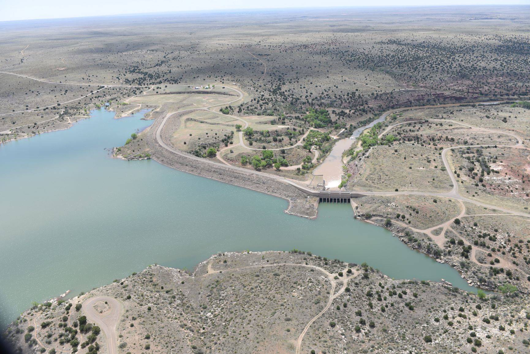 Lake Sumner and Sumner Dam flowing into the Pecos River