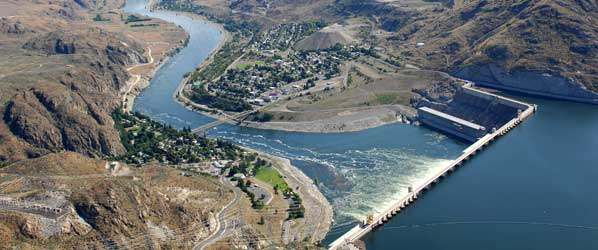 Aerial View of Columbia River coming from Grand Coulee Dam