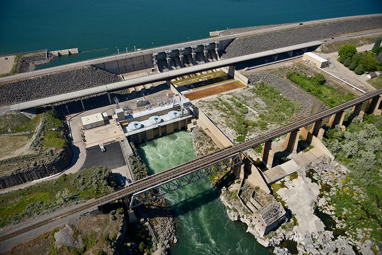 Aerial view of American Falls Dam.
