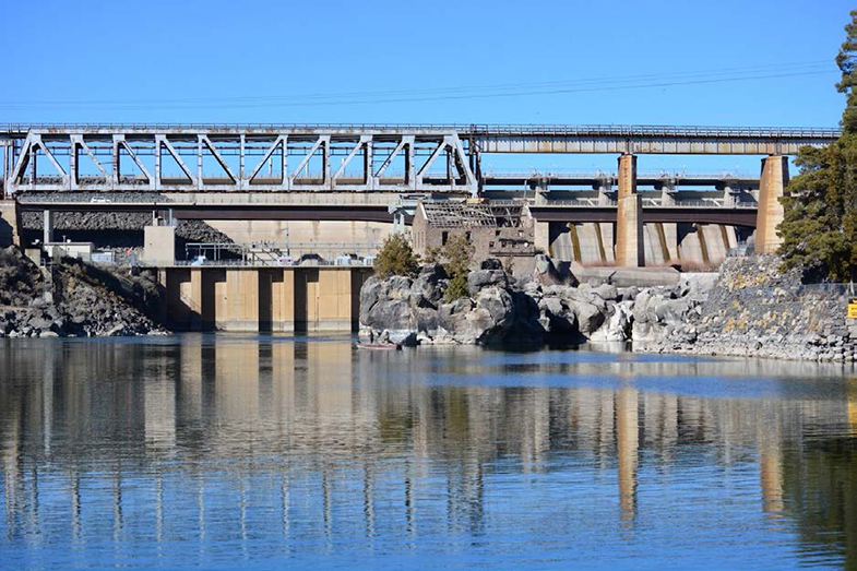 View of the American Falls Dam from downstream on the Snake River.
