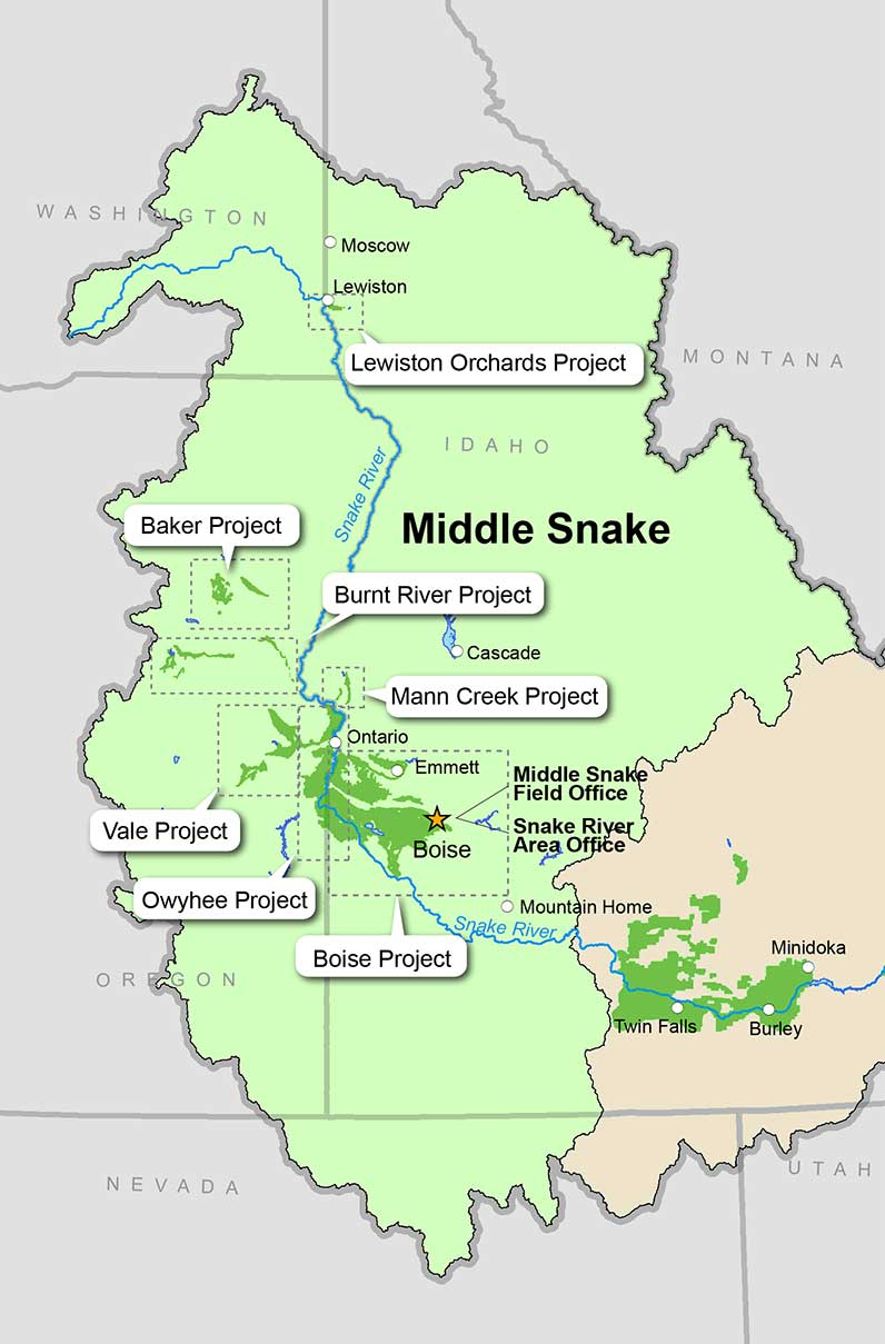 Snake River Area Office Dams Projects Bureau Of Reclamation - Snake river world map