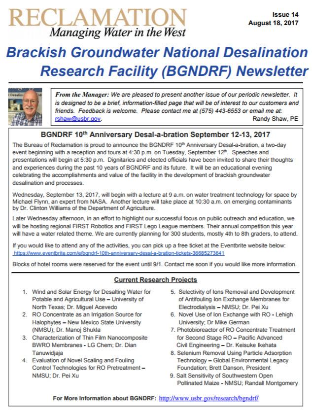 Image of BGNDRF Newsletter cover.
