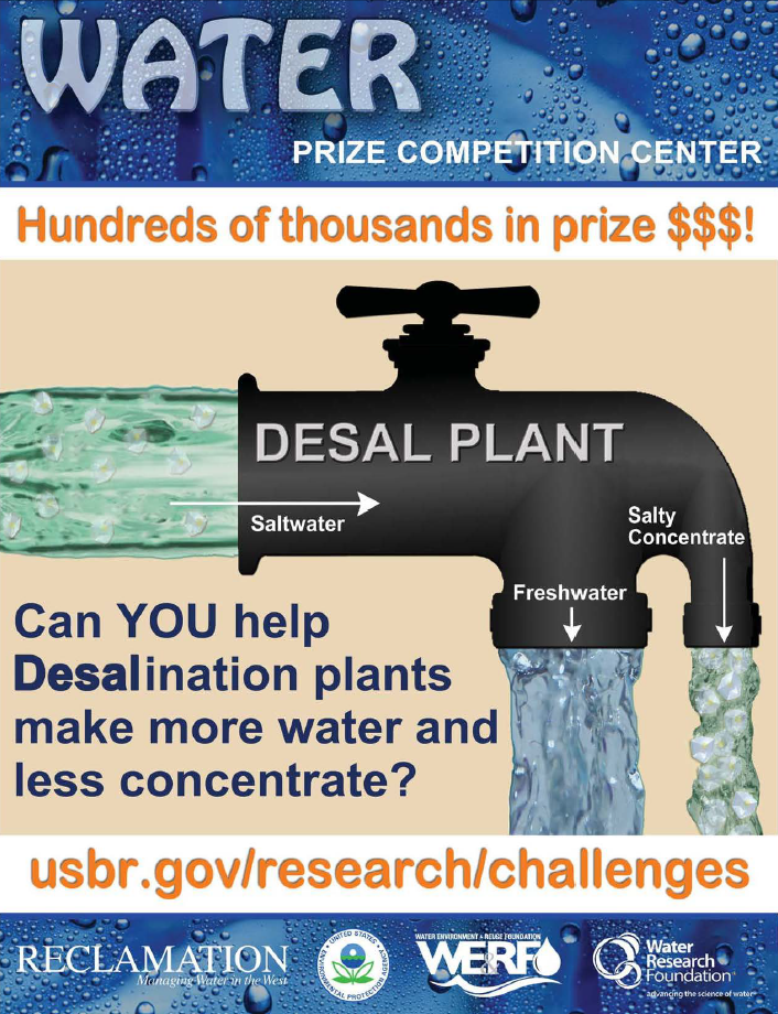 more water, less concentrate poster showing desalination process.