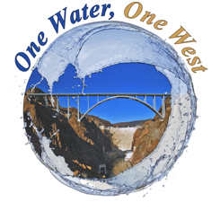 Pitch to Pilot logo with Hoover Dam in background, swirling water wave, and One Water, One West at top