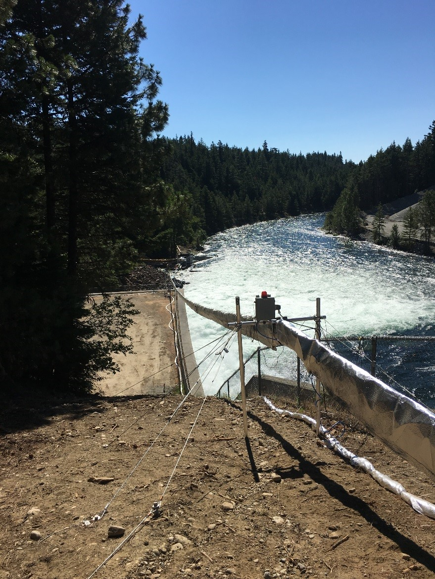 Whooshh™ transport tube next to Cle Elum Dam spillway, Cle Elum, Washington. Tube passed fish over the dam (1100' long and 165' high) just under an average of 60 seconds.