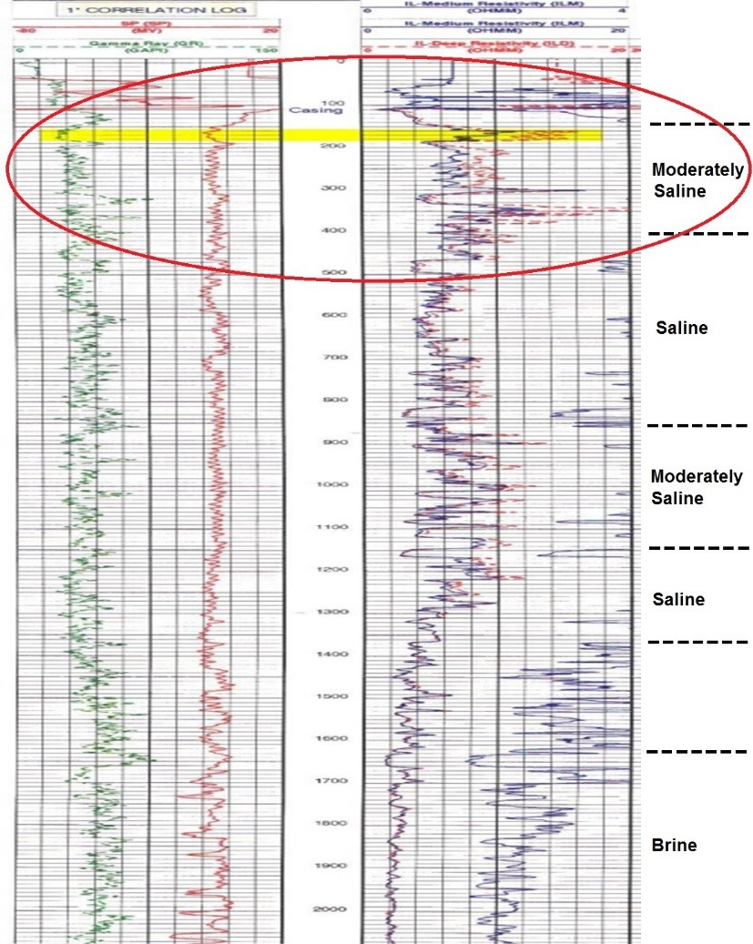 Example of geophysical logs with relatively shallow groundwater exhibiting a desirable moderate salinity.
