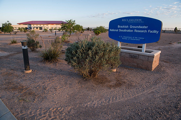 Photo: Brackish Groundwater National Desalination Research Facility sign