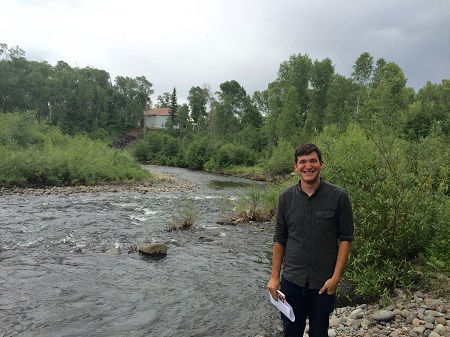 VISTA volunteer Will Donahoo at a proposed trailhead on the Rio Chama