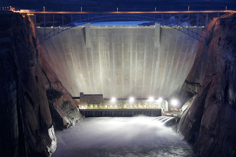 Glen Canyon Dam at Night During High Flow Release