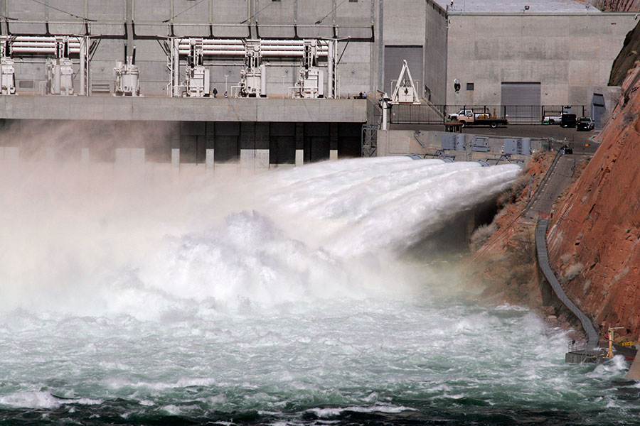 Glen Canyon Dam During High Flow Release