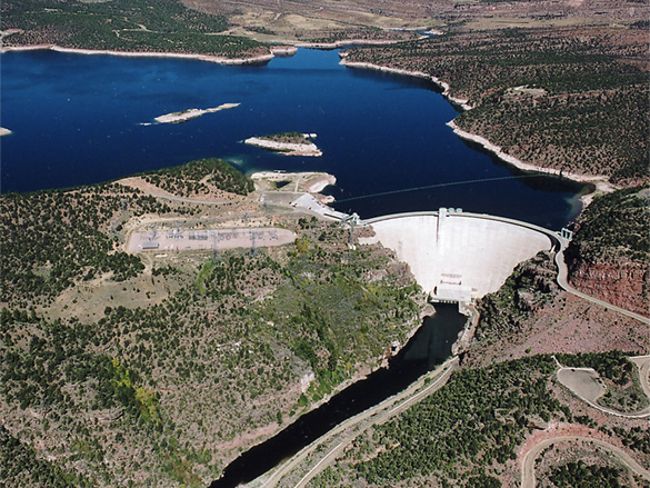 Aerial view of Flaming Gorge Dam and Reservoir.